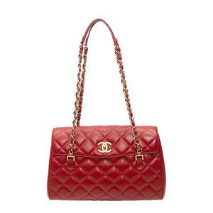 Red Chanel Quilted Leather Flap Bag